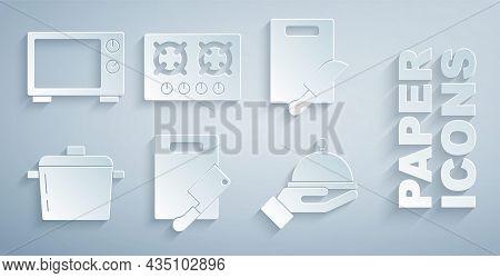 Set Cutting Board And Meat Chopper, Knife, Cooking Pot, Covered With Tray, Gas Stove And Microwave O