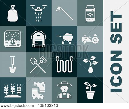 Set Plant In Pot, Tractor, Garden Hoe, Farm House, Automatic Irrigation Sprinklers, Full Sack And Wh