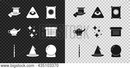 Set Magician Hat In Hand, Masons, Ancient Magic Book, Wand, Witch, Ball, Lamp Or Aladdin And Sparkle