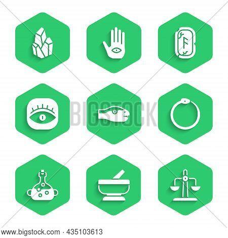 Set Snake, Mortar And Pestle, Libra Zodiac, Ouroboros, Poison In Bottle, Masons, Magic Runes And Sto