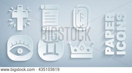 Set Gemini Zodiac, Magic Runes, Masons, King Crown, Decree, Parchment, Scroll And Christian Cross Ic