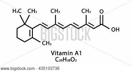 Vitamin A1 Retinoic Acid Molecular Structure. Vitamin A1 Retinol Skeletal Chemical Formula. Chemical