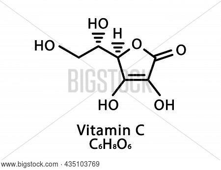 Vitamin C Ascorbic Acid Molecular Structure. Vitamin C Ascorbic Acid Skeletal Chemical Formula. Chem