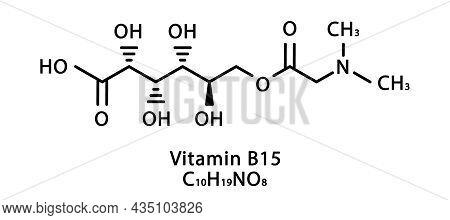 Vitamin B15 Pangamic Acid Molecular Structure. Vitamin B15 Pangamic Acid Skeletal Chemical Formula.