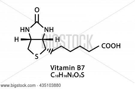 Vitamin B7 Biotin Molecular Structure. Vitamin B7 Biotin Skeletal Chemical Formula. Chemical Molecul