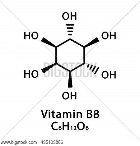 Vitamin B8 Inositol Molecular Structure. Vitamin B8 Inositol Skeletal Chemical Formula. Chemical Mol