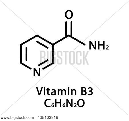 Vitamin B3 Nicotinamide Molecular Structure. Vitamin B3 Nicotinamide Skeletal Chemical Formula. Chem