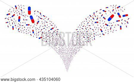 Medical Pill Double Fireworks Fountain. Medical Pill Fireworks Twice Fountain. Object Fountain Made