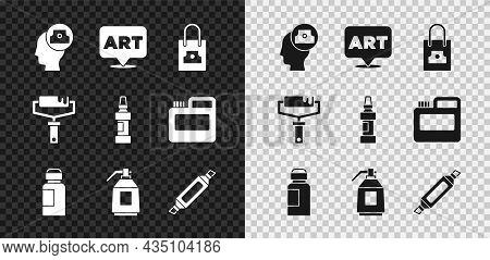Set Spray Can Nozzle Cap, Speech Bubble With Text Art, Paint, Gouache, Jar, Dye, Spray Gun, Marker P