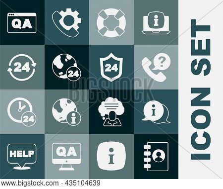 Set Address Book, Information, Telephone 24 Hours Support, Lifebuoy, Question And Answer And Icon. V