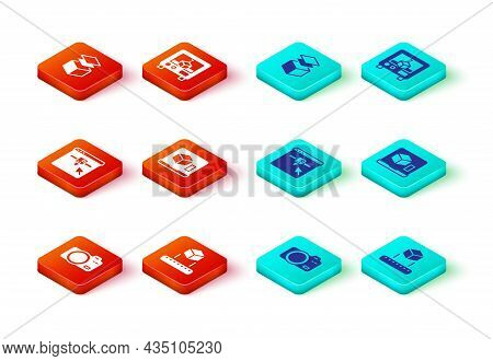 Set Photo Camera, Isometric Cube, 3d Printer Setting, And Layers Icon. Vector