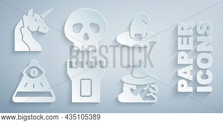 Set Castle Tower, Witch Hat, Masons, Skull And Unicorn Icon. Vector