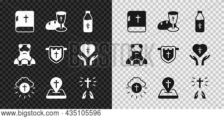 Set Holy Bible Book, Goblet And Bread, Water Bottle, Religious Cross In Circle, Location Church Buil