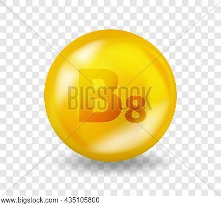 Vitamin B8 Inositol. Vitamin Complex Illustration Concept. 3d B8 Inositol Pill Capsule. Yellow Drug