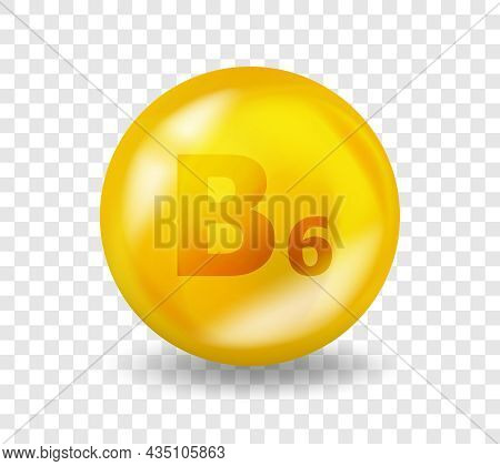 Vitamin B6 Pyridoxine. Vitamin Complex Illustration Concept. B6 Pyridoxine Pill Capsule. 3d Yellow D