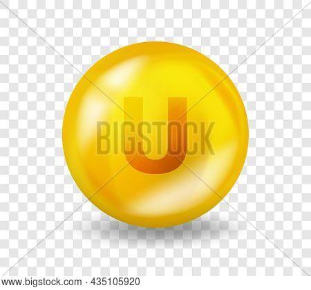 U Vitamin S-methylmethionine. Vitamin U Complex Illustration Concept. S-methylmethionine Pill Capsul