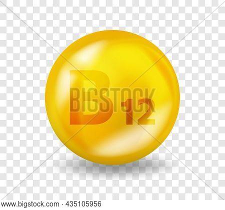Vitamin B12 Cyanocobalamin. Vitamin Complex Illustration Concept. B12 Cyanocobalamin Pill Capsule. 3