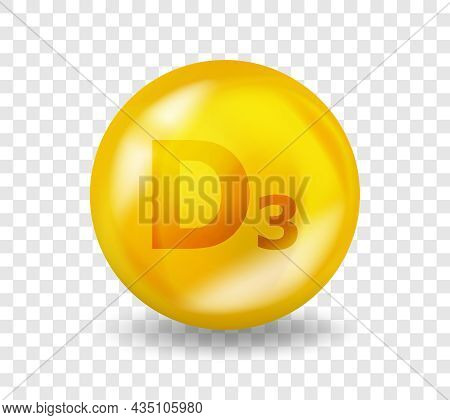 Vitamin D3 Cholecalciferol. Vitamin Complex Illustration Concept. D3 Cholecalciferol Pill Capsule. 3