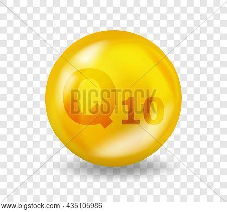 Vitamin Q10 Coenzyme. Vitamin Complex Illustration Concept. Q10 Ubiquinone, Coenzyme Q Pill Capsule.