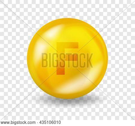 Vitamin F Essential Fatty Acid. Vitamin Complex Illustration Concept. F Essential Fatty Acid Pill Ca