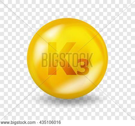 Vitamin K3 Menadione. Vitamin Complex Illustration Concept. K3 Menadione Pill Capsule. 3d Yellow Dru
