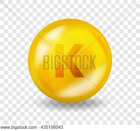 Vitamin K Phylloquinone. Vitamin Complex Illustration Concept. K Phylloquinone Pill Capsule. 3d Yell