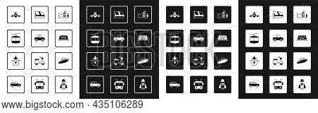 Set Submarine, Pickup Truck, Cable Car, Plane, Taxi Roof, Train And Railway, Speedboat And Icon. Vec