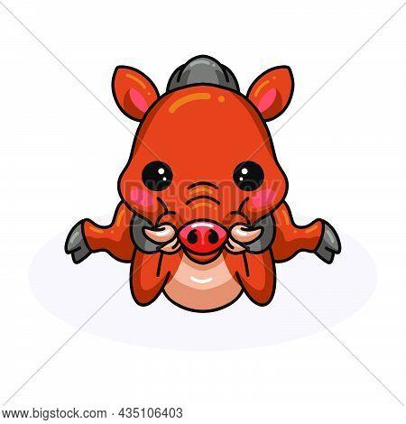 Vector Illustration Of Cute Little Wild Boar Cartoon Laying Down