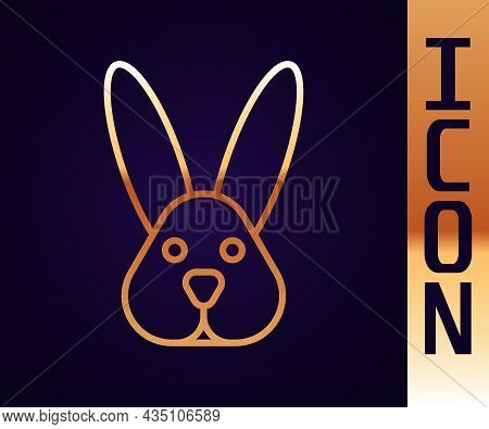 Gold Line Animal Cruelty Free With Rabbit Icon Isolated Gold Line Background. Vector