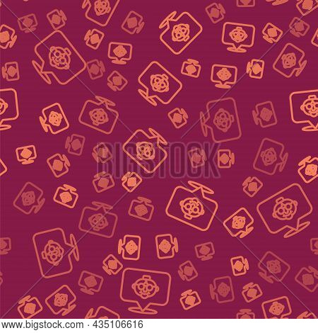 Brown Line Grandmother Icon Isolated Seamless Pattern On Red Background. Vector