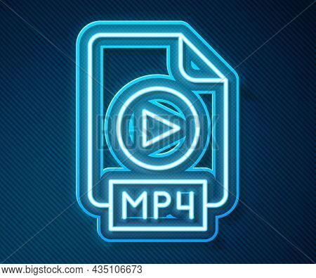Glowing Neon Line Mp4 File Document. Download Mp4 Button Icon Isolated On Blue Background. Mp4 File