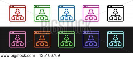 Set Line Online Education And Graduation Icon Isolated On Black And White Background. Online Teacher