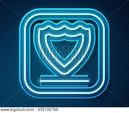 Glowing Neon Line Shield Icon Isolated On Blue Background. Guard Sign. Security, Safety, Protection,