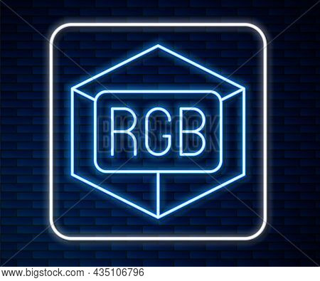 Glowing Neon Line Rgb And Cmyk Color Mixing Icon Isolated On Brick Wall Background. Vector