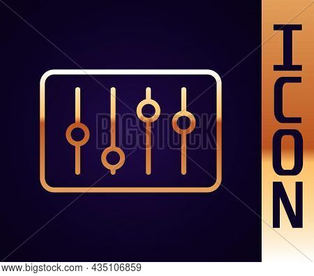 Gold Line Sound Mixer Controller Icon Isolated On Black Background. Dj Equipment Slider Buttons. Mix