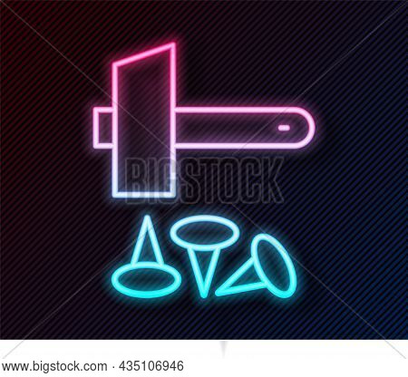 Glowing Neon Line Crucifixion Of Jesus Christ Icon Isolated On Black Background. Hammer And Old Nail