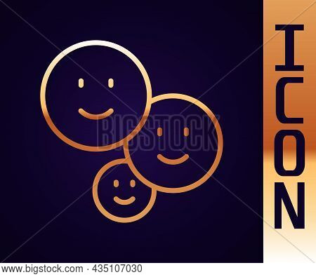 Gold Line Happy Friendship Day Icon Isolated On Black Background. Everlasting Friendship Concept. Ve