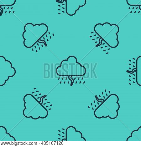 Black Line Cloud With Rain And Lightning Icon Isolated Seamless Pattern On Green Background. Rain Cl
