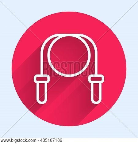 White Line Jump Rope Icon Isolated With Long Shadow Background. Skipping Rope. Sport Equipment. Red