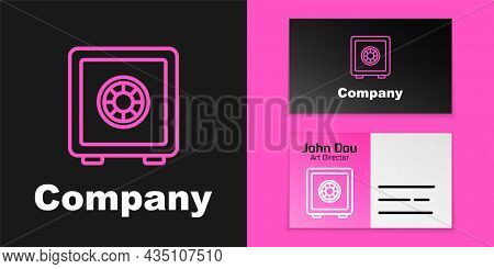 Pink Line Safe Icon Isolated On Black Background. The Door Safe A Bank Vault With A Combination Lock