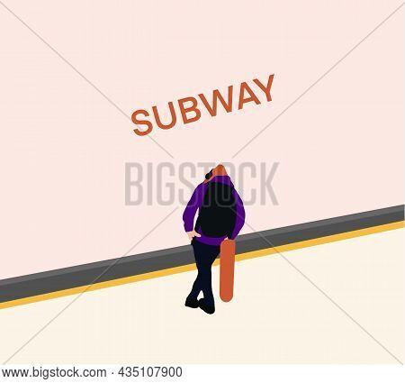 Man Passenger With Longboard Standing On Subway Station Platform. Urban City Lifestyle. Vector Illus