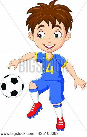 Vector Illustration Of Cartoon Little Boy Playing Football