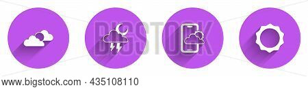 Set Sun And Cloud Weather, Storm, Weather Forecast And Icon With Long Shadow. Vector