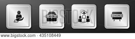 Set Life Insurance In Hand, Censored Stamp, Spy, Agent And Icon. Silver Square Button. Vector