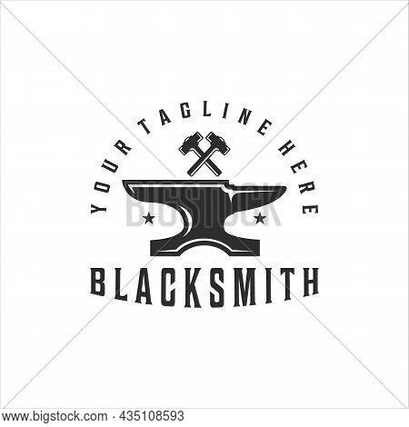 Blacksmith Anvil Hammer Logo Vintage Vector Illustration Template Icon Design. Welding And Forge Ser