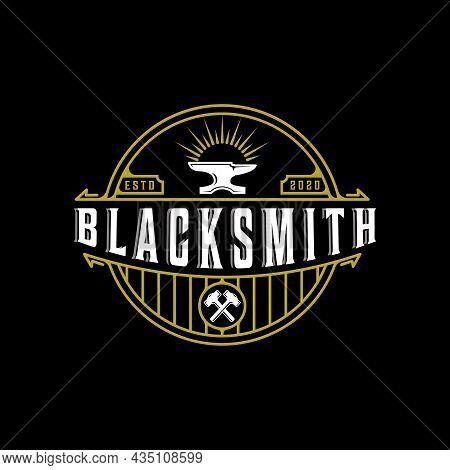 Blacksmith Anvil Hammer Vintage Vector Logo Illustration Template Icon Design. Workshop Metal Indust