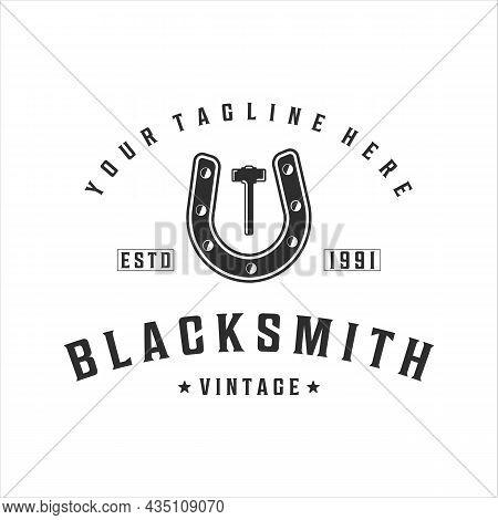 Blacksmith Horseshoe Hammer Logo Vintage Vector Illustration Template Icon Design. Welding And Forge