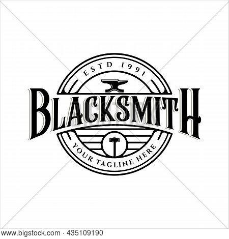 Blacksmith Anvil And Hammer Logo Vintage Vector Logo Illustration Template Icon Design. Workshop Met