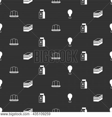 Set Chicken Leg, Piece Of Cake, Jelly And Aper Package For Milk On Seamless Pattern. Vector