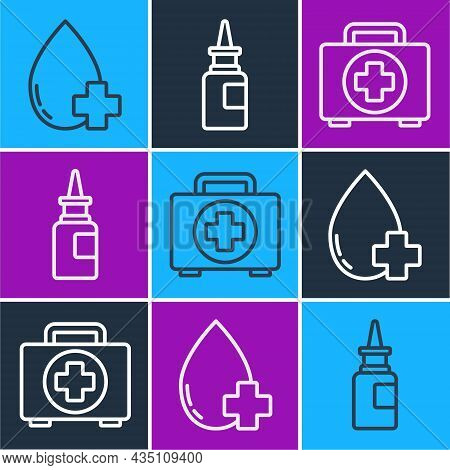 Set Line Donate Drop Blood With Cross, First Aid Kit And Bottle Nasal Spray Icon. Vector